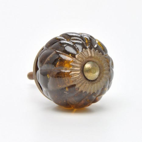 Brown Round Glass Knob