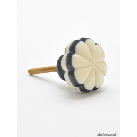 Cream and Black Bone Flower Knobs