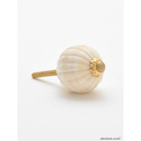 Pumpkin Ribbed Bone Ball Knob