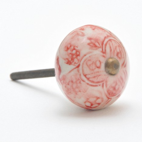 Embellished Orb Cupboard Knob - Red