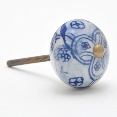 Embellished Orb Cupboard Knob - Blue