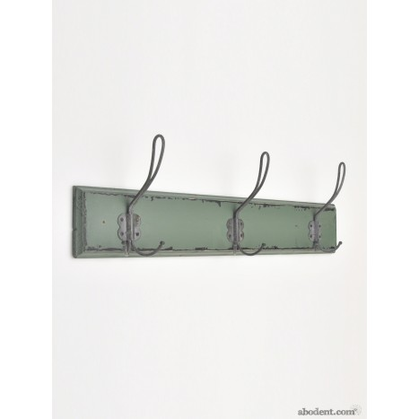 Small Distressed Green Wooden Coat Hook