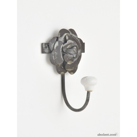Ceramic and Metal Flower Hook