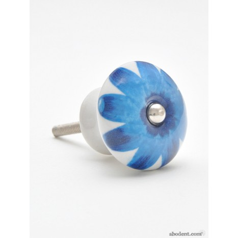Bright Blue Flower Cupboard Knobs