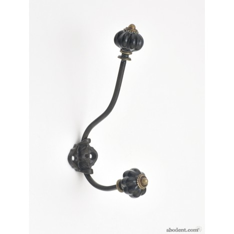 Decorative Wall Hook With Black Ceramic Knobs